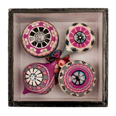 Teardrop baubles, Uzbekistani patterns, hand painted Kashmir