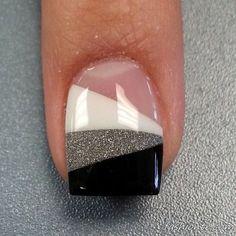 Black and white glitter nails