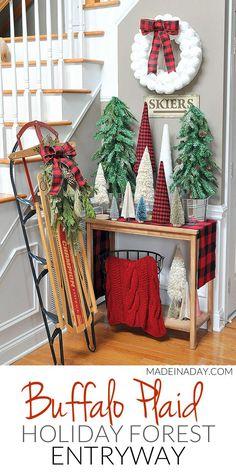 Buffalo Plaid Christmas Forest #Entryway, sisal tree, glitter bottle brush tree, woodland snow trees, vintage sled, #BuffaloPlaid, #holiday entryway, cone tree stand tutorial #sponsored