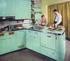 1950s steel kitchen // pinned by jillscheintal.com/ MRealty, Portland Oregon                                                                                                                                                     More
