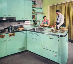 1950s steel kitchen // pinned by jillscheintal.com/ MRealty, Portland Oregon                                                                                                                                                     More