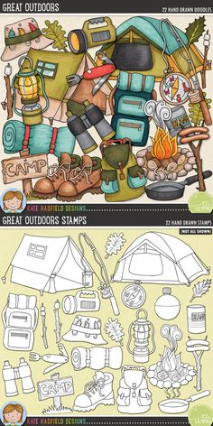 Camping digital scrapbooking elements   Cute camping & outdoors clip art   Hand-drawn doodles for digital scrapbooking, crafting and teaching resources from Kate Hadfield Designs! Click to see projects created using these illustrations!