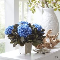ivory and blue hydrangea arrangement - Google Search