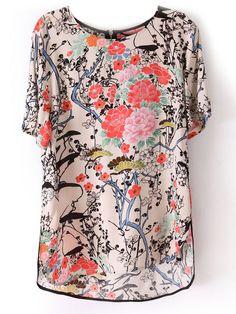 Beige Short Sleeve Floral Print Zip Back Blouse -SheIn(Sheinside)