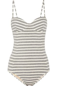 J.Crew|Striped stretch-cotton swimsuit|NET-A-PORTER.COM