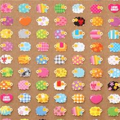 cute tiny colourful sheep stickers from Japan