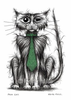 Posh cat Print download by KeithMills on Etsy, £3.00