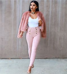 @Amrezy in HMS - Top / Bodysuit:  Pants: http://www.hotmiamistyles.com/Blush_Faux_Suede_Gold_Button_Pants_p/pb893blush.htm Top / Bodysuit: http://www.hotmiamistyles.com/White_High_Cut_Bodysuit_p/bc0022spaghettiwhite.htm