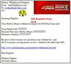 My 6th Payment from ACX - Ad Click Xpress (It is actually Amazing Cool revXchange program according to me :-) ) Program  !!  Date: 03.09.15 06:00  To PayProcessor Account = U******* Amount: 9.6 Currency: USD Batch: 100618545 Memo: API Payment.Ad Click Xpress Withdraw 4430359-115185. Payment ID: 115185   ACX is 100% legitimate program that gives you what it has promised to you while joining.