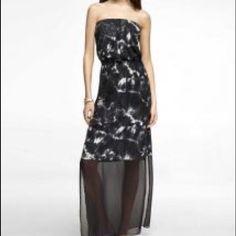 Express maxi dress Black tie dye Express maxi dress with sheer bottom Express Dresses Maxi