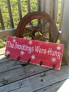 Stockings Sign - The Stockings Were Hung - Snowflake Sign - Christmas Stocking Hanger - Rustic Christmas Sign - Holiday Wall Decor - Art (Christmas Art Rustic) Christmas Wood Crafts, Christmas Signs Wood, Rustic Christmas, Christmas Projects, Holiday Crafts, Christmas Holidays, Christmas Ideas, Holiday Signs, Christmas Phrases