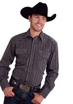 Roper Striped Mens Black Cotton Blend Grey Dobby L/S Western Shirt
