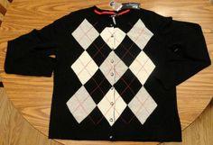 NWT Apt 9 100% Cashmere Sweater Size XL Argyle Print Cardigan Black Gray Red NWT #Apt9 #Cardigan