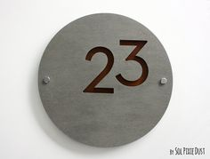 Modern House Numbers, Round Concrete with Marine Plywood - Contemporary Home Address - Sign Plaque - Door Number