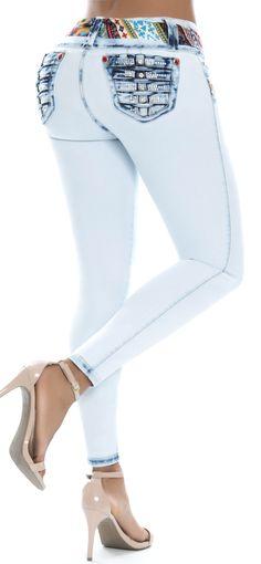 Jeans colombiano levanta cola 93323-6 marca ENE2 de tiro medio y silueta  ajustada con 45af097c12