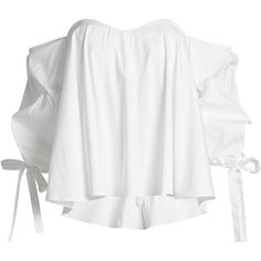 Caroline Constas Off-Shoulder Cotton Blouse (1.845 RON) ❤ liked on Polyvore featuring tops, blouses, shirts, white, cotton blouse, white off shoulder blouse, white off shoulder top, cotton shirts and off the shoulder tops