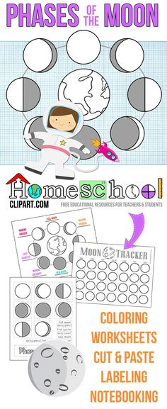 Free Phases of the Moon Activity Pages. Moon Tracker, Labeling, Coloring, Cut and Paste and more! Great for a space unit. Moon Activities, Science Activities, Science Projects, Earth And Space Science, Science For Kids, Science Lessons, Teaching Science, Science Classroom, Science Experience