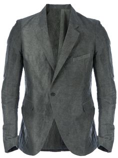 Grey stretch linen blend jacket from Poeme Bohemien featuring a worn in effect, a crinkled texture, notched lapels, a front button closure, flap pockets, a welt pocket, long sleeves, buttoned cuffs and a rear vent