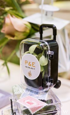 Varied as what you can choose to pack, these suitcase trolleys are equally as versatile in their use. The perfect favour for a destination wedding, bon voyage party, or a corporate getaway. Travel inspired wedding favors
