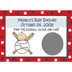 baseball themed baby shower games | 24 Baby Shower Scratch Off Game Cards Baseball Little Slugger Theme ...