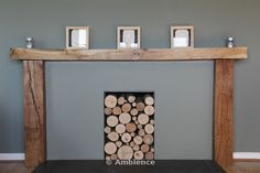 Modern fireplace with logs stored in recess on Ambience Images from Arcaid Images, The architectural picture agency Log Store, Modern Fireplace, Entryway Tables, Dining Room, Logs, Architecture, Interiors, Furniture, Ideas