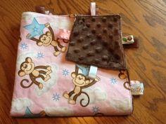 Monkey on a Cloud/Star Ribbon Blanket by BlanketsbySheryl on Etsy, $15.00