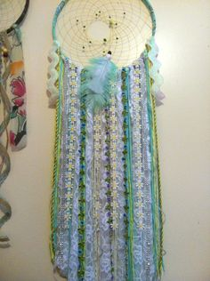 Large dreamcatcher/Flowers/Aqua/boho/home/decor/wall hanging/diy MADE BY MEG