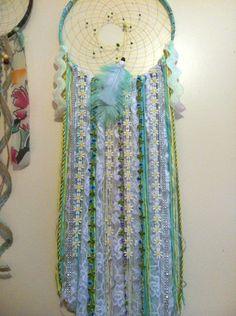 Large dreamcatcher/Flowers/Aqua/boho/home/decor/wall hanging/diy MADE BY MEG