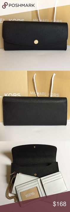 """Michael Kors 'Julian' 3-Piece LG Flap Wallet Black and White Safiano Leather, 18k Gold Plated Hardware, Removable Chain Coin Purse, Removable Card Case (ID Slot, 3 Credit Card Slots, Center Compartment, 2 Slot Pockets), 1 Slot Pocket, 6 Credit Card Slots, 9""""W X 4.5""""H X 1""""D Michael Kors Bags Clutches & Wristlets"""