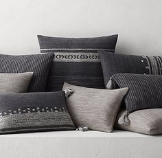 Handwoven Bhujodi Pillow Cover Collection - Faded Black