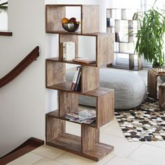 Asymmetrical 5-Tier Display Unit - Dark-Beige