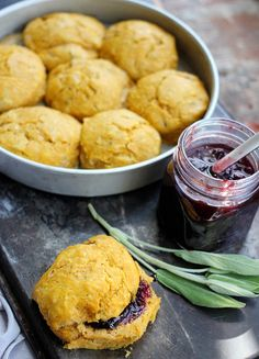 Pumpkin Sage Scones with Spicy Cherry Jam {fall flavors!}