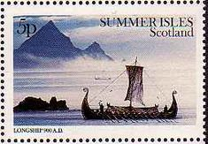 Viking stamp Scotland. This may be the type of ship that the Norsemen were on when they 'discovered' the shores of Canada some 1000 years ago.