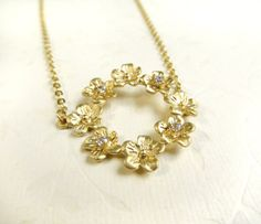 Gold Rhinestone Flower Necklace Floral Clear by LoveHerSo on Etsy