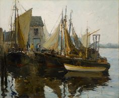 """""""Fishing Boats at Rockport, Massachusetts,"""" Anthony Thieme, oil on canvas, 30 x 36 1/8"""", Vose Galleries."""