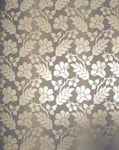 opaline damask wallpaper floral and leaf design in satinised silver on a strie violet striped background - Contemporary Damask Wallpaper