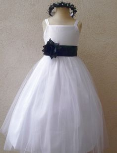 Flower Girl Dress - WHITE Tulle Dress (Double Straps) with BLACK Sash - Communion, Easter, Jr. Bridesmaid, Wedding - Baby to Teen (FGRP2W) on Etsy, $32.99