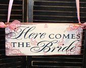 HERE Comes The BRIDE Sign/Wedding/Photo Prop/Scrolls Damask French/U Choose Colors/Shower Gift/Gold Royal. $45.00, via Etsy.
