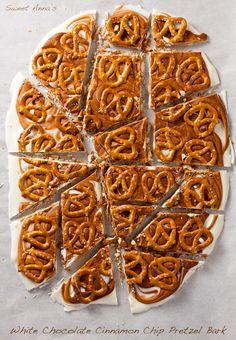 White Chocolate Cinnamon Chip Pretzel Bark (&  BIG news!!!) | Sweet Anna's