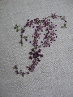 Hand Embroidery Monogram Letter P. $68.00, via Etsy.