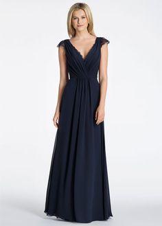 e1a614b9ece5 Style 5600 | Indigo chiffon A-line bridesmaid gown, draped V-neckline,