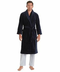 dbd6ec9af2 This men s robe is made from pure Supima cotton. Thick pile for absorbency  and softness. Shawl collar