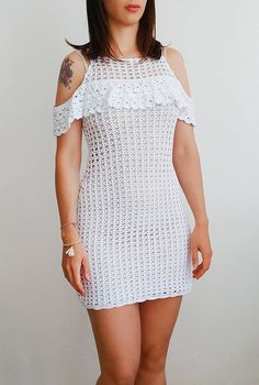 This White crochet dress features a high scoop neckline,off-the-shoulder lace and midi silhouette. The dress is made with 100% COTTON yarn. Available in white,if you prefer other color just let me a note on the order. THIS DRESS IS READY TO SHIPPING. Once the delivery was made, I will