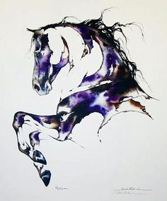 Horizon : Portrait of a horse in an energetic prancing stance.