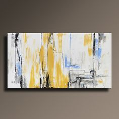 ABSTRACT PAINTING Yellow Gray White Black Blue Painting por itarts
