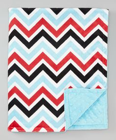 Look at this #zulilyfind! The Minky Boutique Turquoise & Red Zigzag Minky Stroller Blanket by The Minky Boutique #zulilyfinds