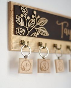 Items similar to Custom Wooden Key Rack For Wall Rustic Key Hooks Entryway Decor Personalized Key Holder With Keychains Family Sign Plaque Housewarming Gift on Etsy Entryway Organization, Entryway Decor, Gravure Laser, Laser Cutter Projects, Established Sign, Wall Key Holder, Key Rack, Newlywed Gifts, Buy Wood