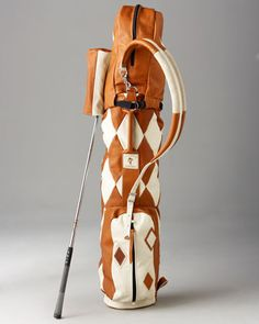 I don't even golf...but I want this. Harlequin Golf Bag, Tan by The MacKenzie Golf Bag Co. at Neiman Marcus.