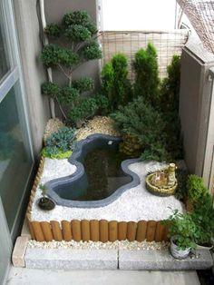 56 Backyard Ponds And Water Garden Landscaping Ideas (57) Backyard Garden Design, Patio Design, Backyard Landscaping, Landscaping Ideas, Concrete Design, Concrete Patios, Concrete Backyard, Small Backyard Ponds, Large Backyard