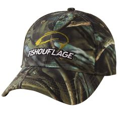Crappie Pattern Full Camo Cap. Constructed from rugged poly twill fabric with anti-microbial treatment for freshness and wicking moisture management keeps the cap cool. Fishouflage logo on the front of the cap.